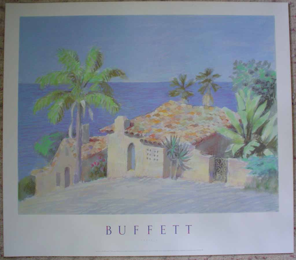 Pastels, Mira Costa by William Buffett, shown with full margins - offset lithograph vintage fine art poster print