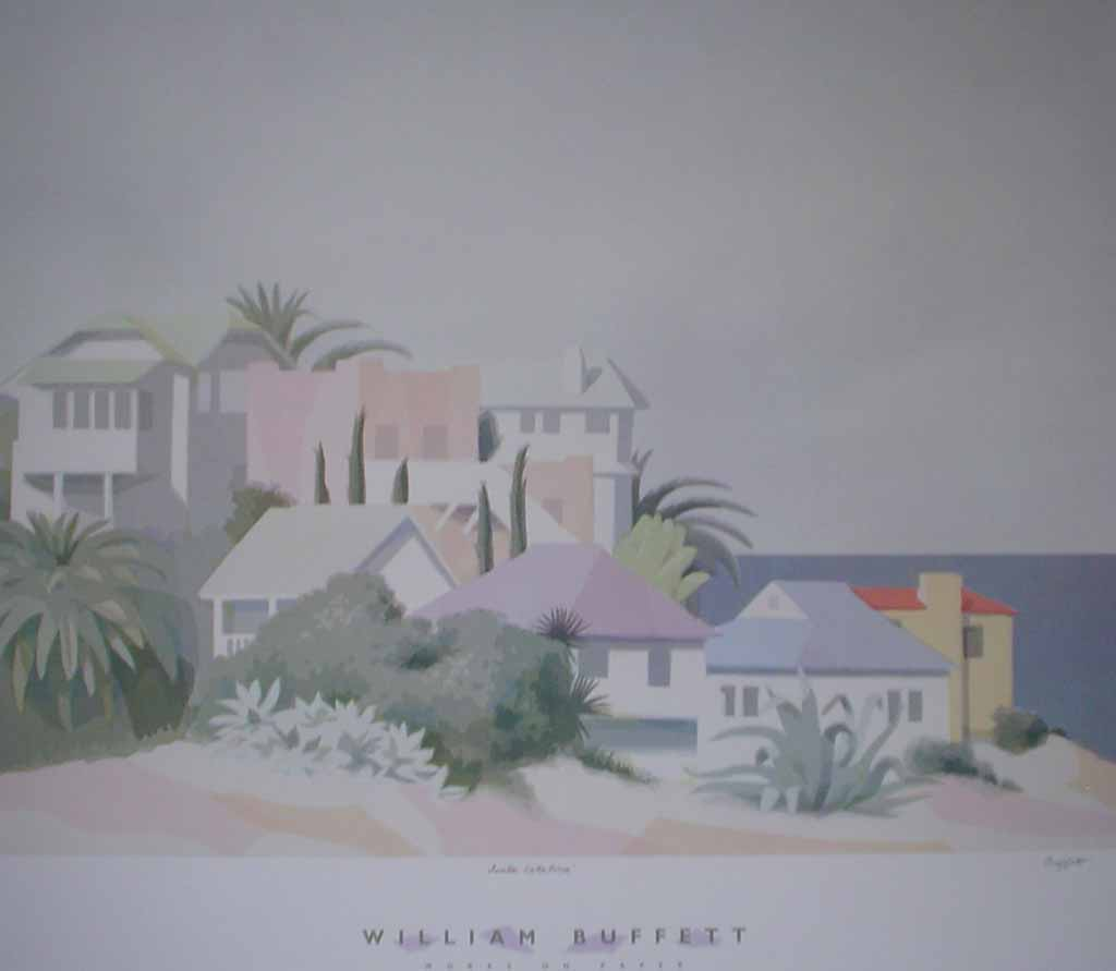 Works On Paper, Santa Catalina by William Buffett, shown with bottom margin - offset lithograph vintage fine art poster print