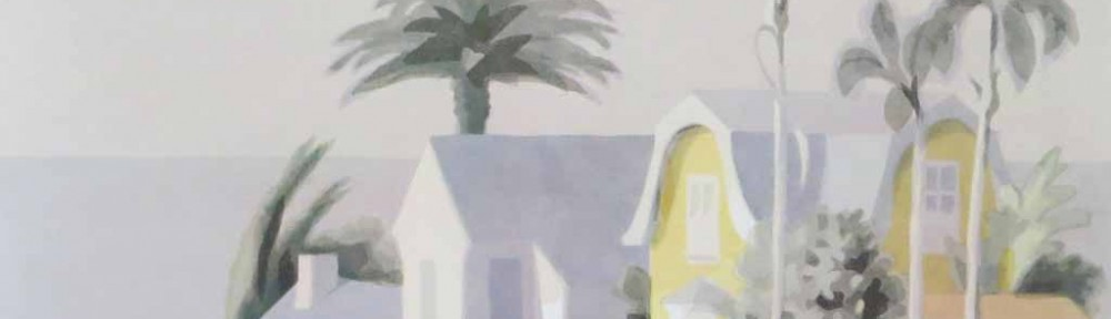 Works On Paper, Yellow House (untitled) by William Buffett - offset lithograph vintage fine art poster print