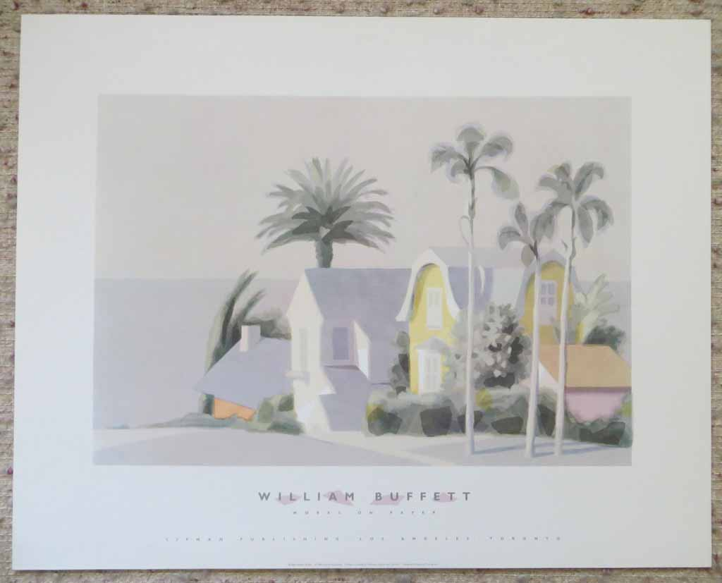 Works On Paper, Yellow House (untitled) by William Buffett, shown with full margins - offset lithograph vintage fine art poster print