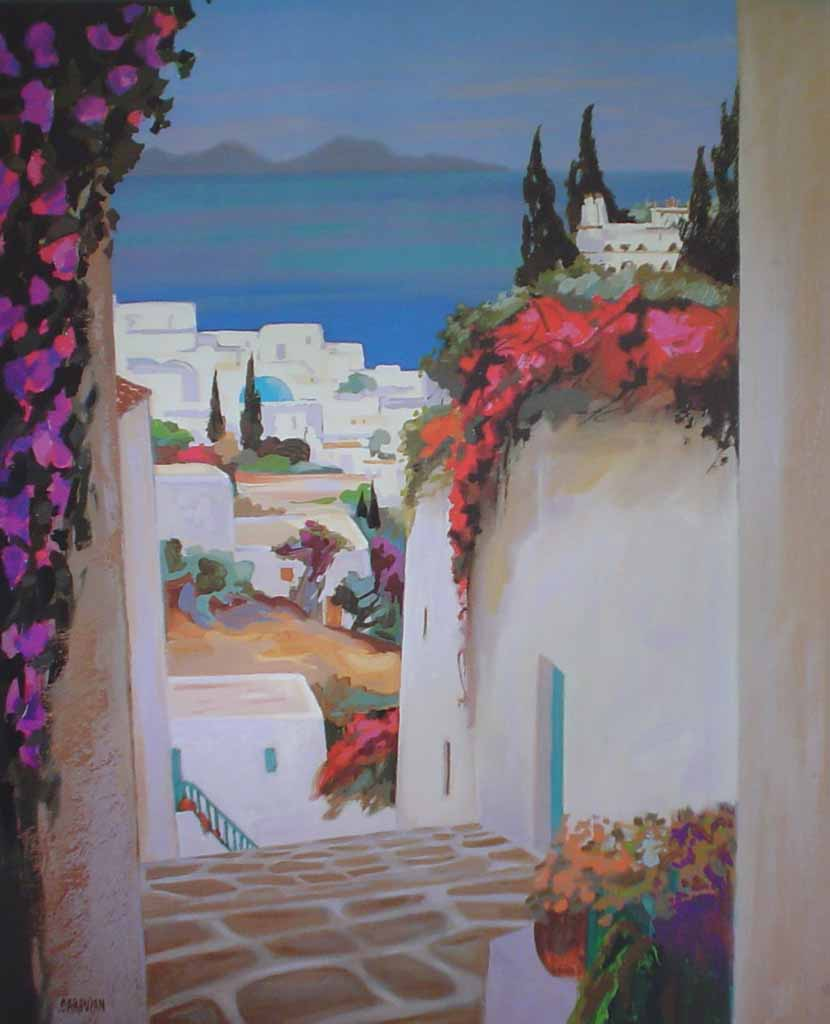 Mykonos by Jean Claude Carsuzan - offset lithograph vintage fine art poster print