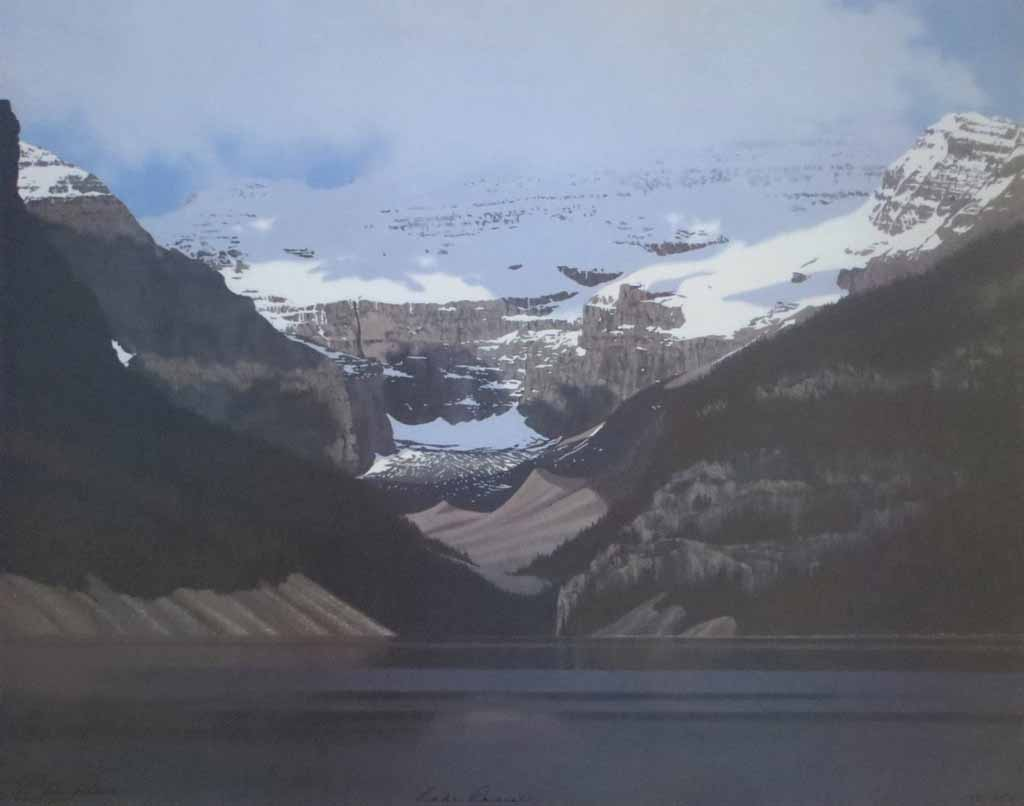 Lake Louise by Leyda Campbell, signed and titled by artist, numbered 138/350 - offset lithograph limited edition print fine art reproduction of an acrylic painting of Lake Louise, Banff, Alberta
