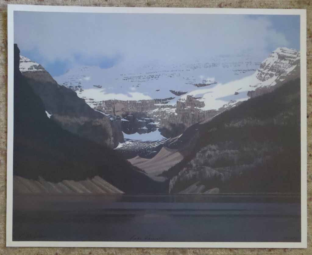 Lake Louise by Leyda Campbell, signed and titled by artist, numbered 138/350, shown with full margins - offset lithograph limited edition print fine art reproduction of an acrylic painting of Lake Louise, Banff, Alberta