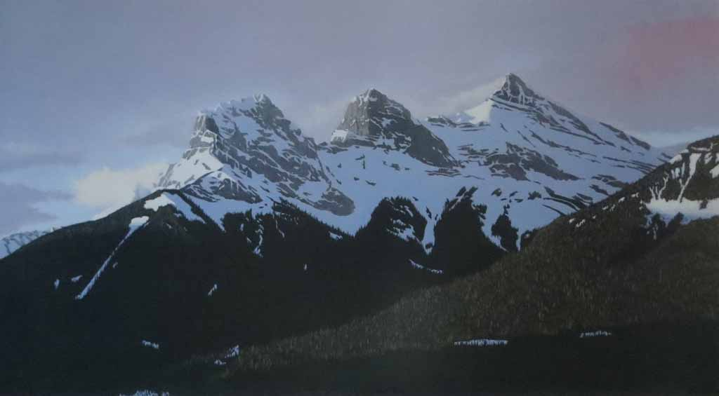 The Three Sisters by Leyda Campbell, signed and titled by artist, numbered 233/350 - offset lithograph limited edition print fine art reproduction of an acrylic painting of The Three Sisters mountains