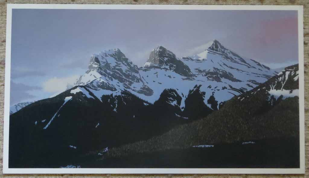 The Three Sisters by Leyda Campbell, signed and titled by artist, numbered 233/350, shown with full margins - offset lithograph limited edition print fine art reproduction of an acrylic painting of The Three Sisters mountains