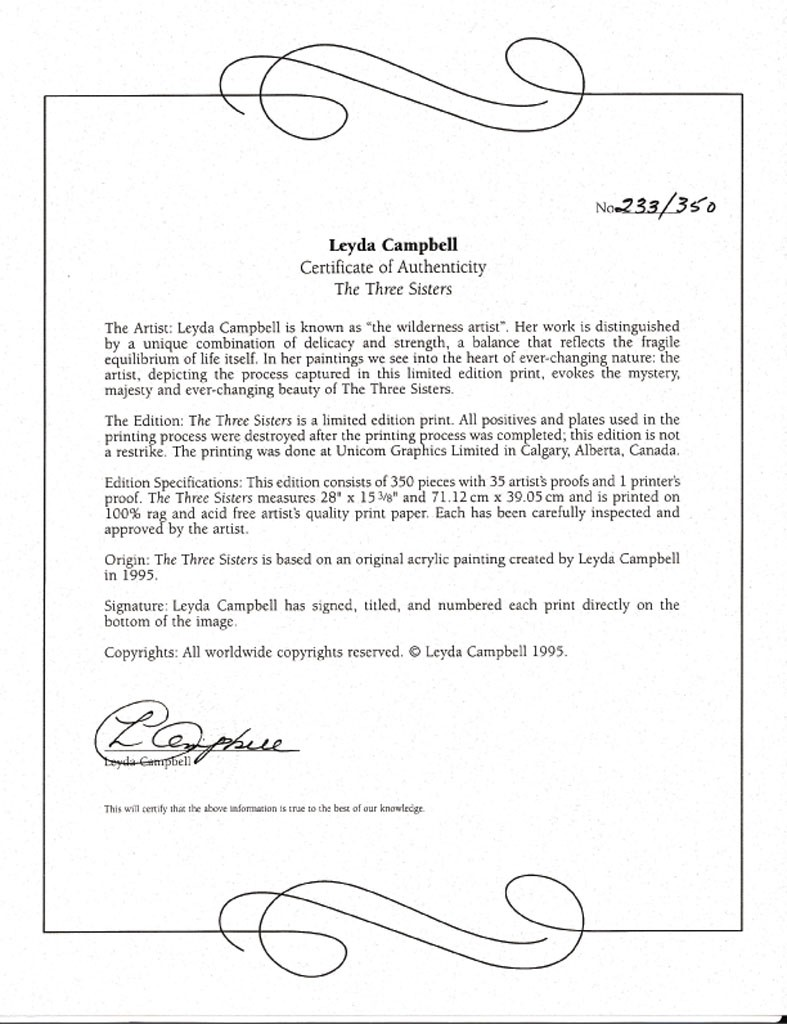 limited edition print certificate of authenticity template - campbell the three sisters certificate kerrisdale gallery