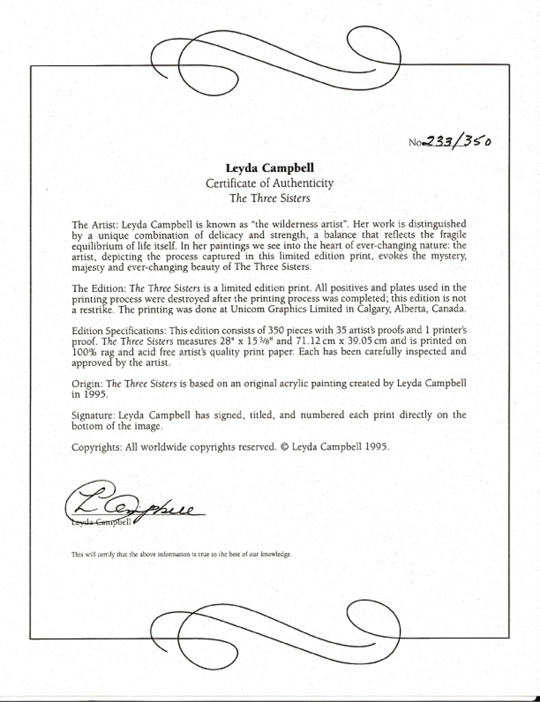 Campbell the three sisters certificate kerrisdale gallery for Limited edition print certificate of authenticity template