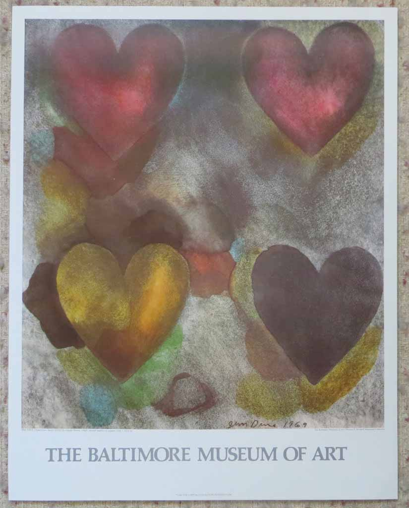 Flo-Master Hearts by Jim Dine, Baltimore Museum of Art 1983, shown with full margins - offset lithograph, collectible fine art poster