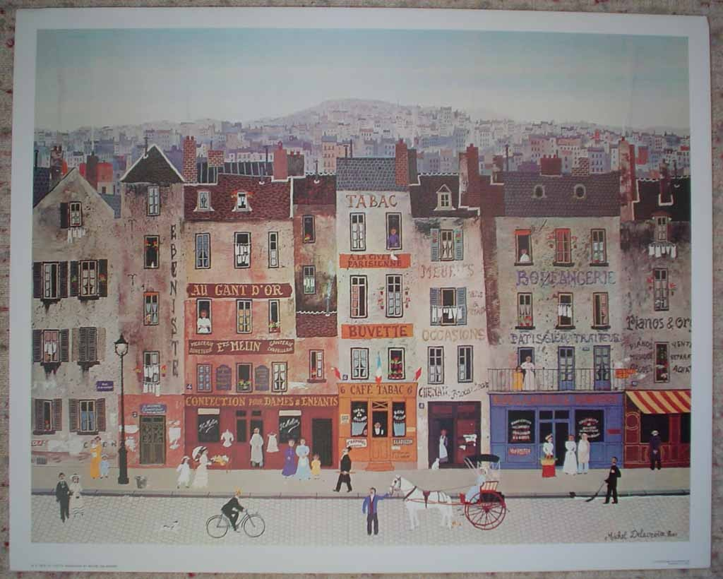 La Civette Parisienne by Michel Delacroix, shown with full margins - offset lithograph reproduction vintage fine art print