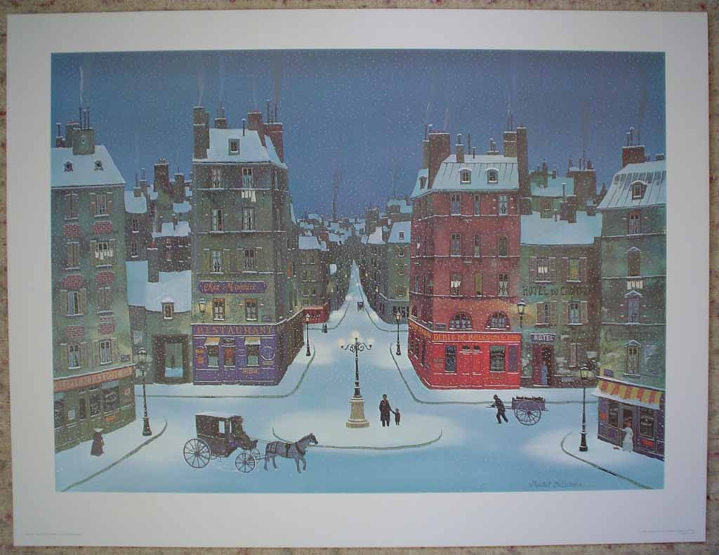 Nuit De Decembre by Michel Delacroix, shown with full margins - offset lithograph reproduction vintage fine art print