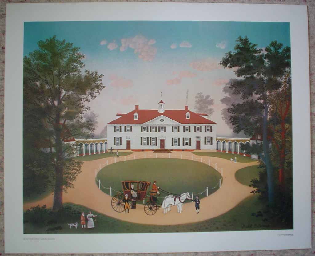 Mount Vernon by Michel Delacroix, shown with full margins - offset lithograph reproduction vintage fine art print