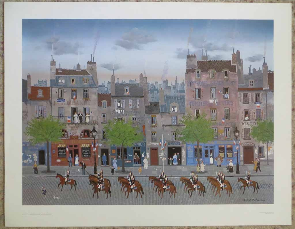 La Garde Republicaine by Michel Delacroix, shown with full margins - offset lithograph reproduction vintage fine art print
