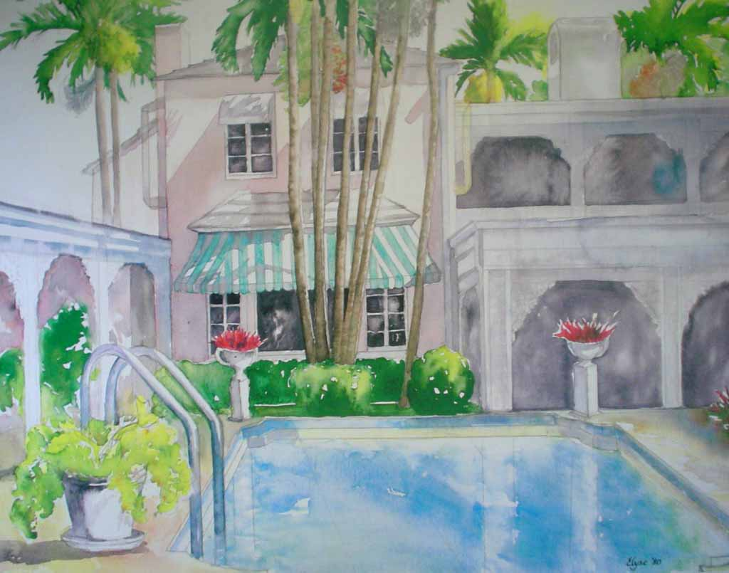 Poolside by Elyse - offset lithograph vintage fine art print reproduction