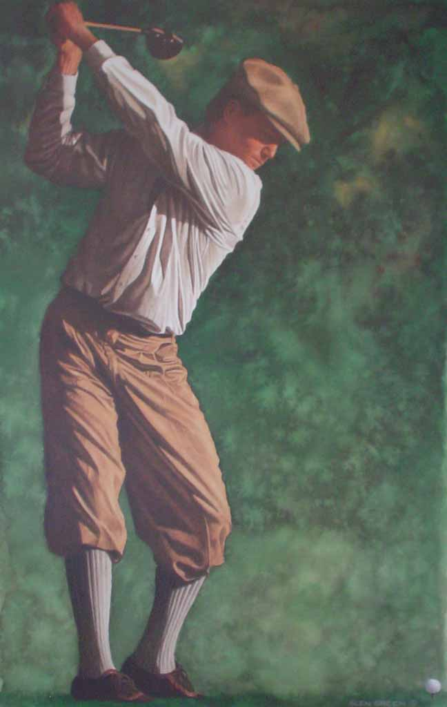 The Art Of Golf: The Drive by Glen Green - offset lithograph reproduction vintage fine art poster print