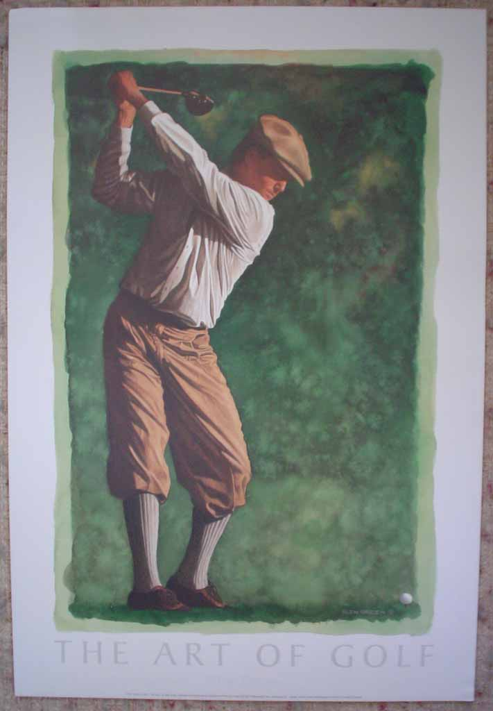 The Art Of Golf: The Drive by Glen Green, shown with full margins - offset lithograph reproduction vintage fine art poster print
