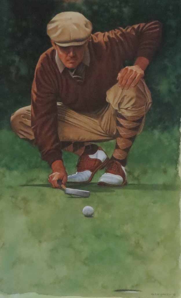 The Art Of Golf: The Line by Glen Green - offset lithograph reproduction vintage fine art poster print