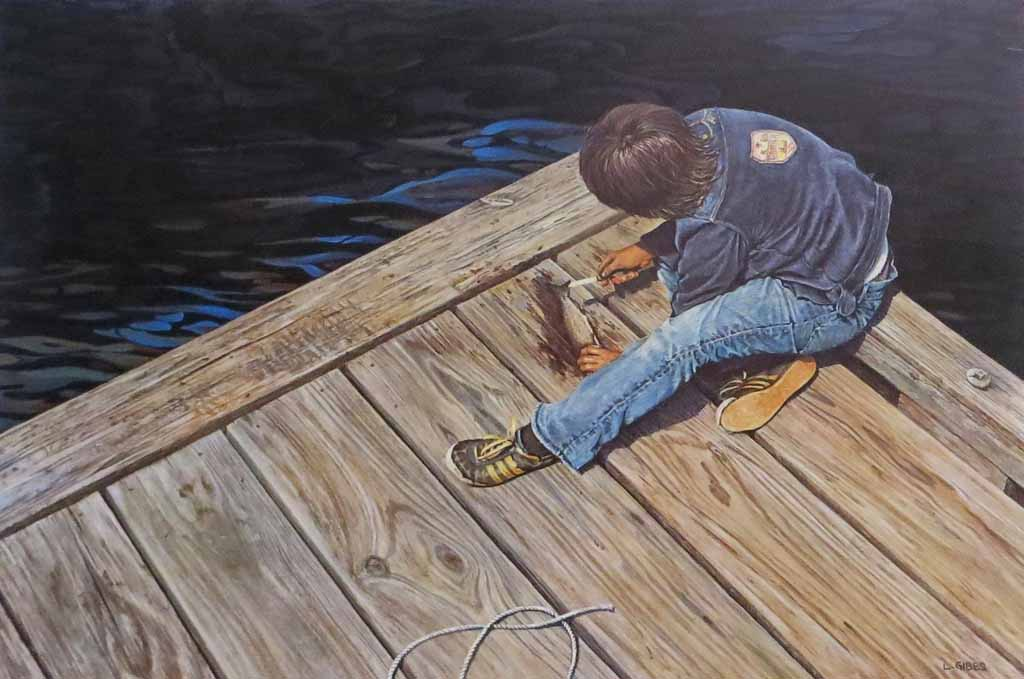 Boy On Pier Cleaning Fish by Leonard (Len) Gibbs - offset lithograph reproduction vintage fine art print
