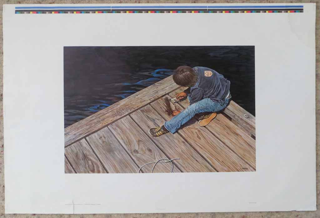 Boy On Pier Cleaning Fish by Leonard (Len) Gibbs, shown with full margins - offset lithograph reproduction vintage fine art print