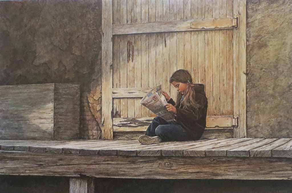 Girl Reading Sunday Comics by Leonard (Len) Gibbs - offset lithograph reproduction vintage fine art print