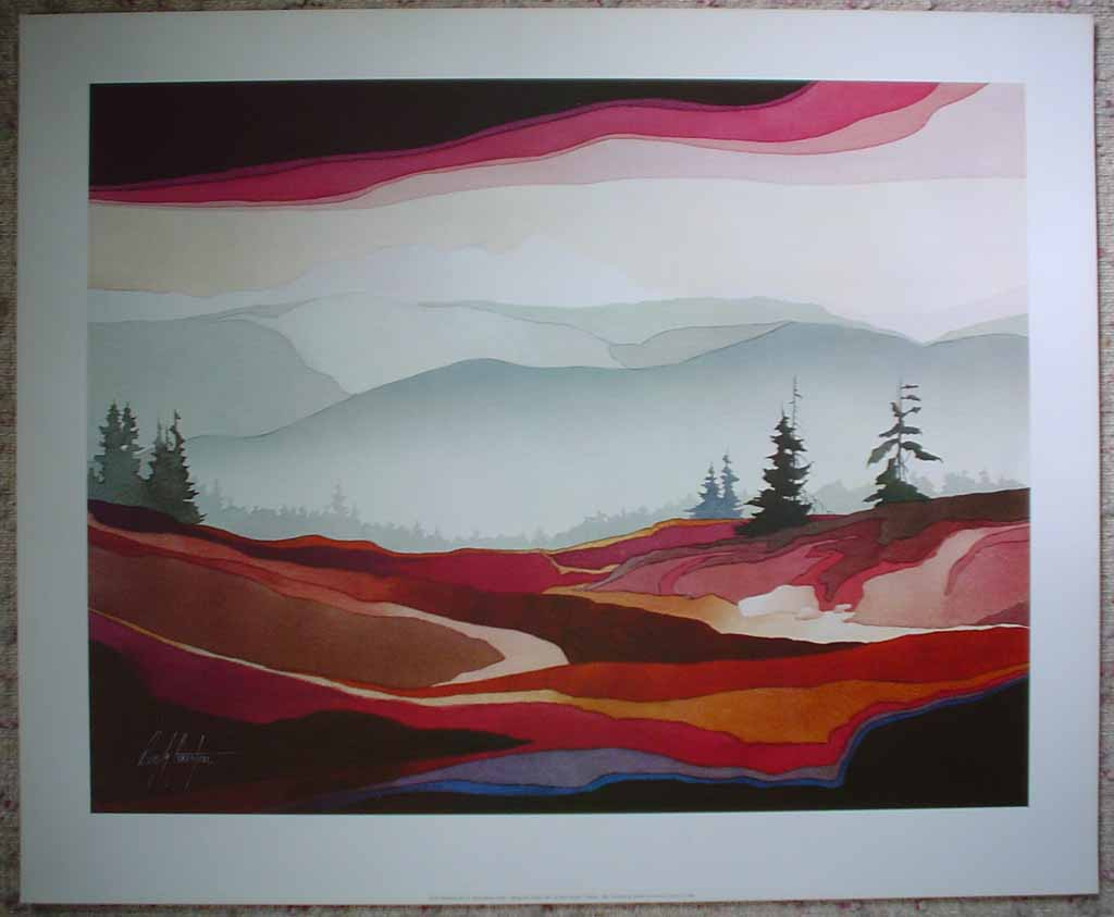 Looking Over To Black Tusk by Deryk Houston, shown with full margins - offset lithograph vintage fine art print