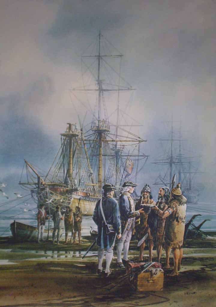 English Sea Captain Greeting West Coast Natives by Harry Heine - offset lithograph reproduction vintage fine art print