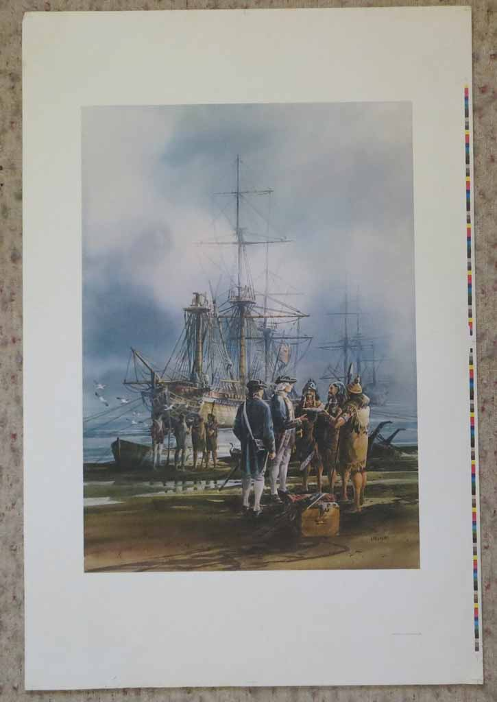 English Sea Captain Greeting West Coast Natives by Harry Heine, shown with full margins - offset lithograph reproduction vintage fine art print