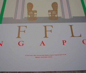 Raffles Singapore by Perry King, detail of publisher information - original silkscreen fine art poster