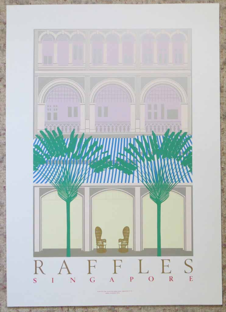Raffles Singapore by Perry King, shown with full margins - original silkscreen fine art poster