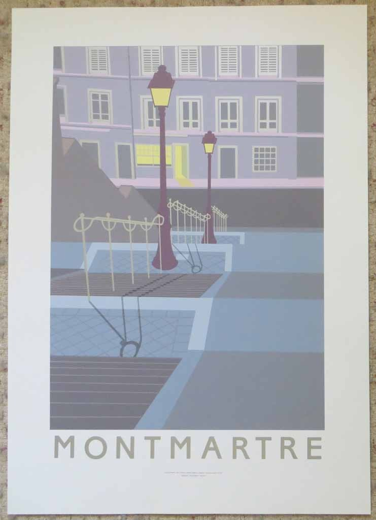 Montmartre by Perry King, shown with full margins - original silkscreen fine art poster