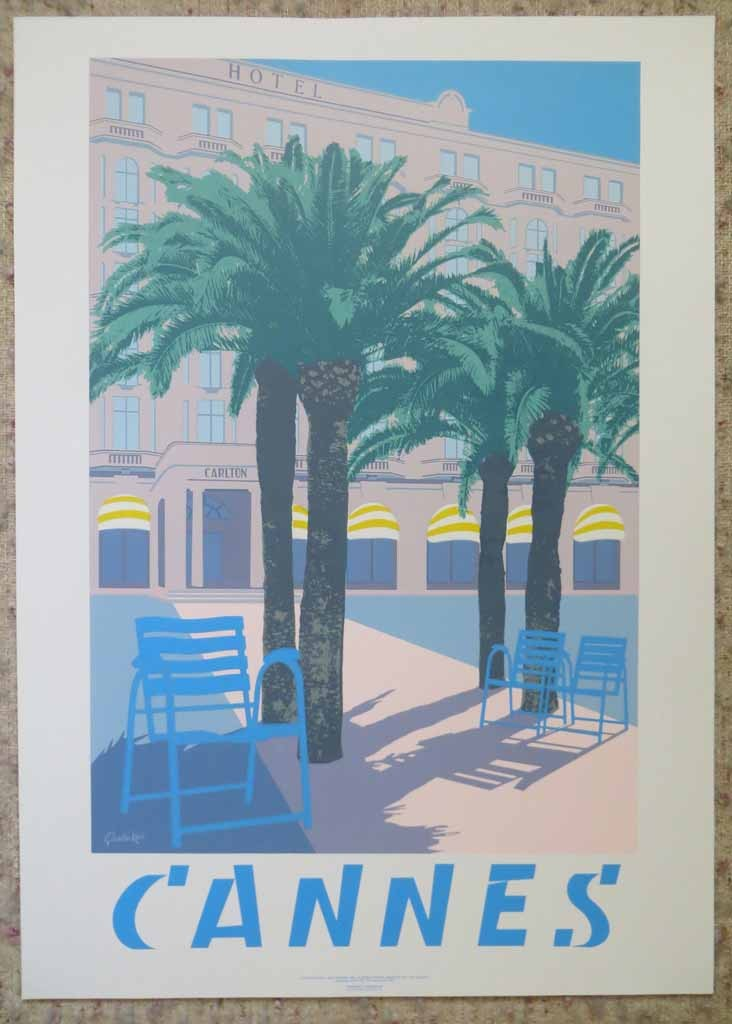 Cannes by Quentin King, shown with full margins - original silkscreen fine art poster