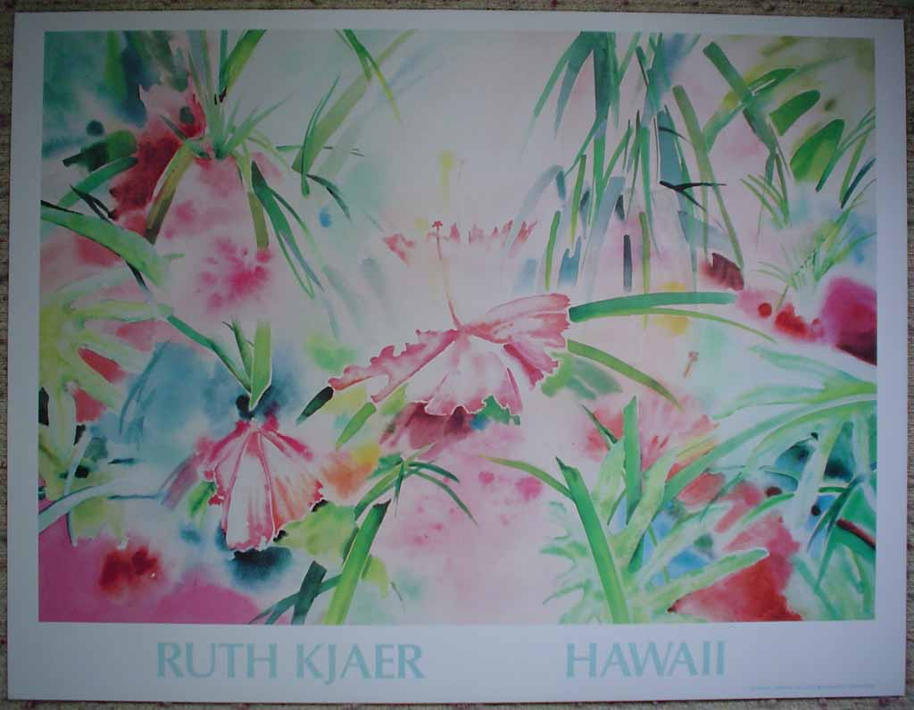 Hawaii Floral by Ruth Kjaer, published by Judith L. Posner Gallery, shown with full margins - offset lithograph reproduction vintage poster art print