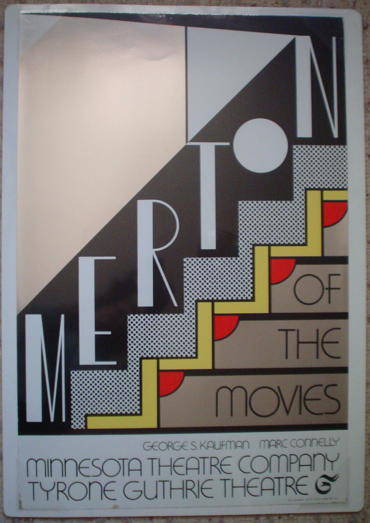 Merton of the Movies by Roy Lichtenstein, shown with full margins - Original Poster 1968, 4-colour screenprint on silver foil