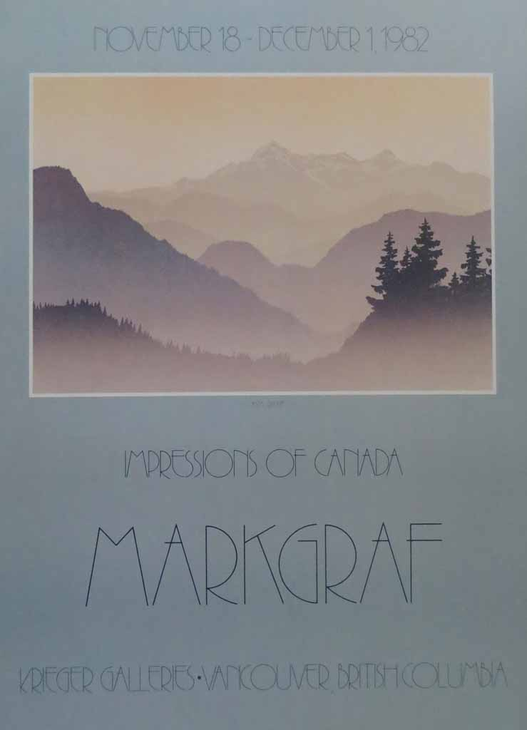 Coastal Range, Impressions Of Canada by Peter and Traudl Markgraf, Krieger Galleries, Vancouver British Columbia 1982 - offset lithograph vintage fine art poster print