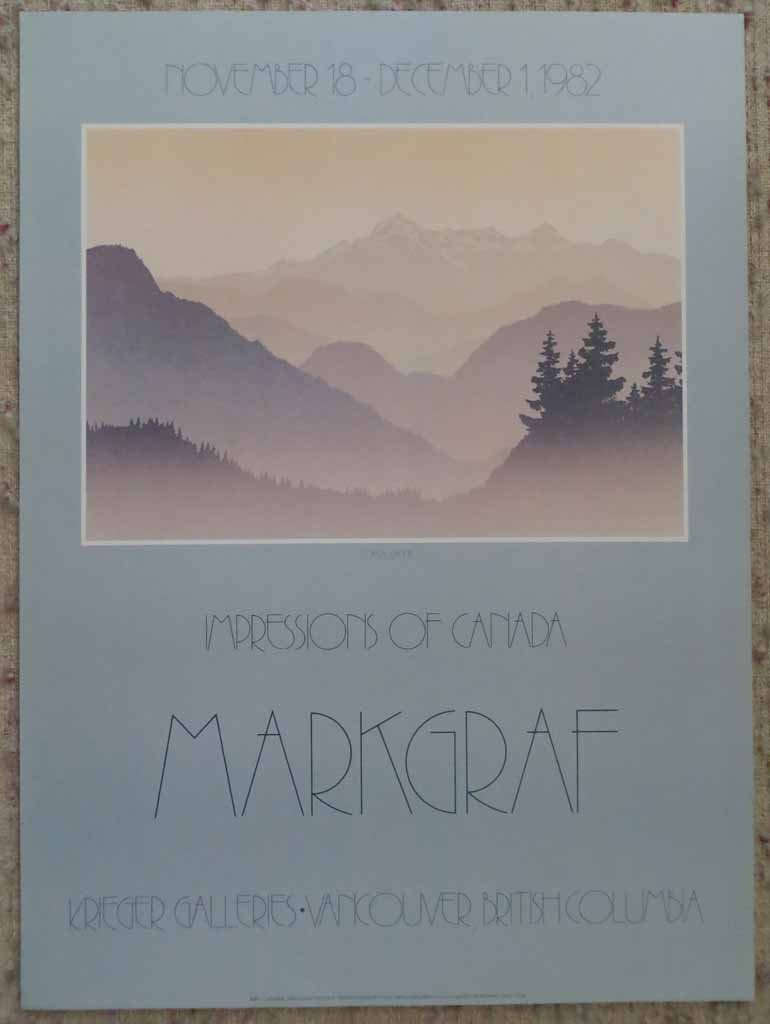Coastal Range, Impressions Of Canada by Peter and Traudl Markgraf, Krieger Galleries, Vancouver British Columbia 1982, shown with full margins - offset lithograph vintage fine art poster print