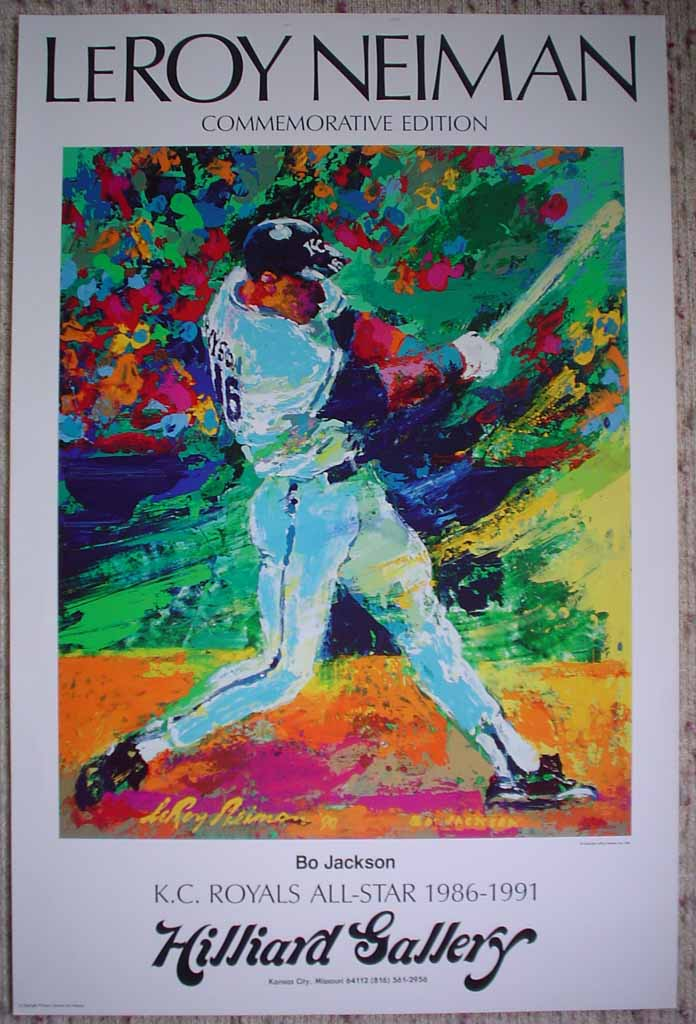 Bo Jackson, K.C. Royals All-Star by LeRoy Neiman, shown with full margins - offset lithograph vintage fine art poster print