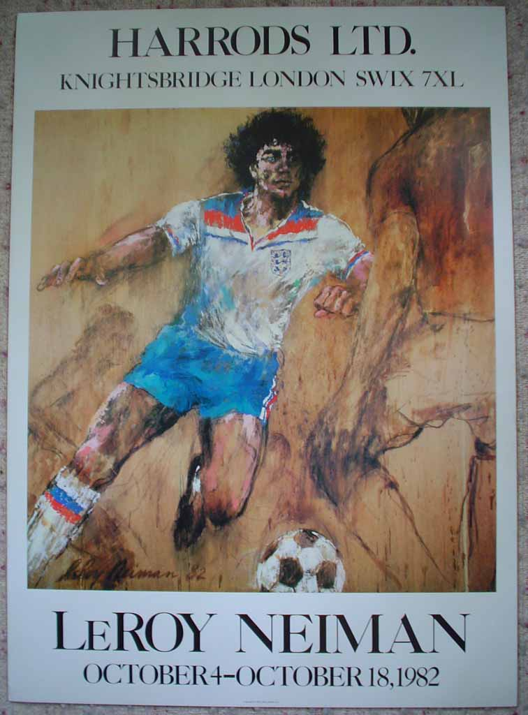 Soccer, Harrods Knightsbridge 1982 by LeRoy Neiman, shown with full margins - offset lithograph vintage poster print art reproduction