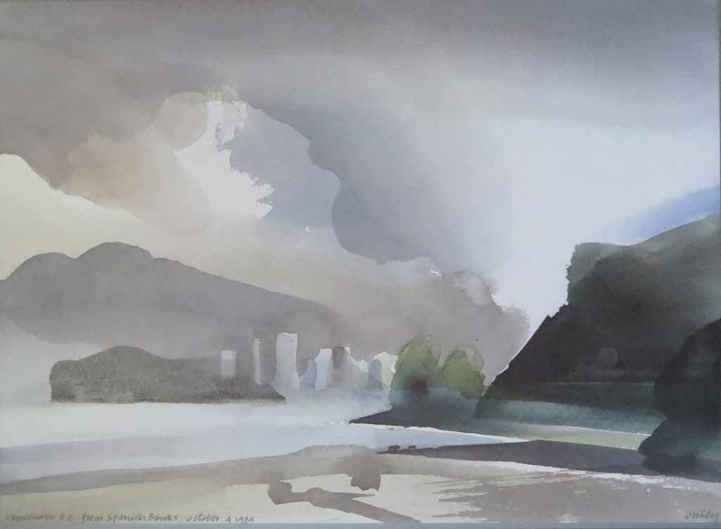 Vancouver, B.C. From Spanish Banks, October 4 1984 by Toni Onley, Vancouver 1886-1986 City Of The Century - offset lithograph vintage fine art poster print