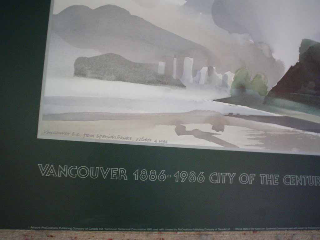 Vancouver, B.C. From Spanish Banks, October 4 1984 by Toni Onley, Vancouver 1886-1986 City Of The Century, detail to show title in image plate - offset lithograph vintage fine art poster print