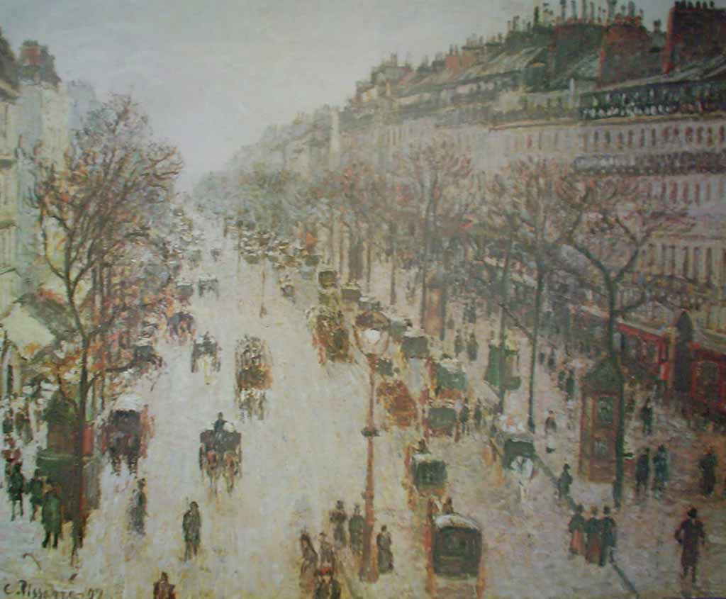 Boulevard Montmartre On A Winter Morning by Camille Pissarro, The Metropolitan Museum of Art - offset lithograph fine art poster