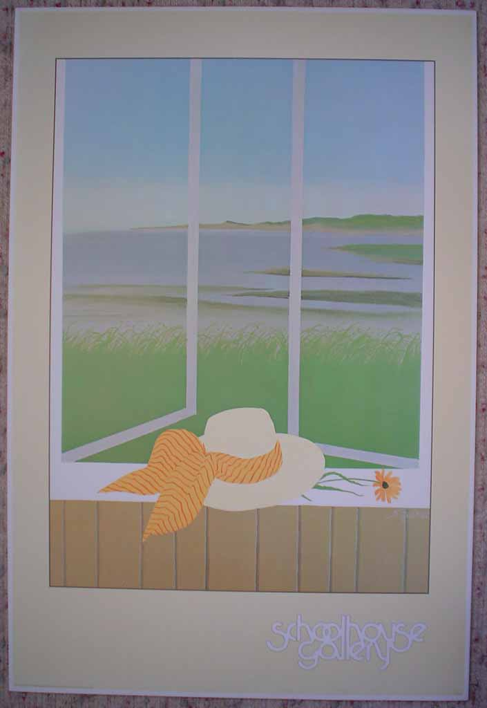 Yellow Hat (untitled) by Mac Squires, Schoolhouse Gallery, shown with full margins - offset lithograph collectable vintage fine art poster print