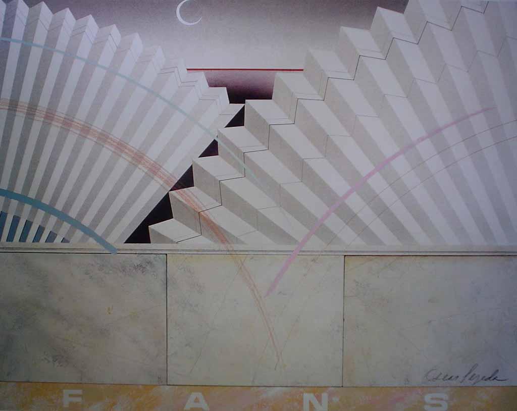 Fans 2, Earthtones (untitled) by Oscar Tejeda - offset lithograph vintage fine art print