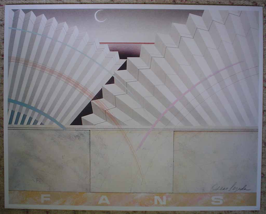 Fans 2, Earthtones (untitled) by Oscar Tejeda, shown with full margins - offset lithograph vintage fine art print