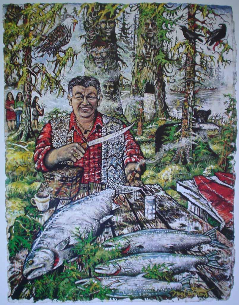 Salmon Season by Noel Wotten - offset lithograph reproduction vintage fine art print