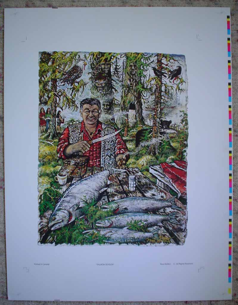 Salmon Season by Noel Wotten, shown with full margins - offset lithograph reproduction vintage fine art print