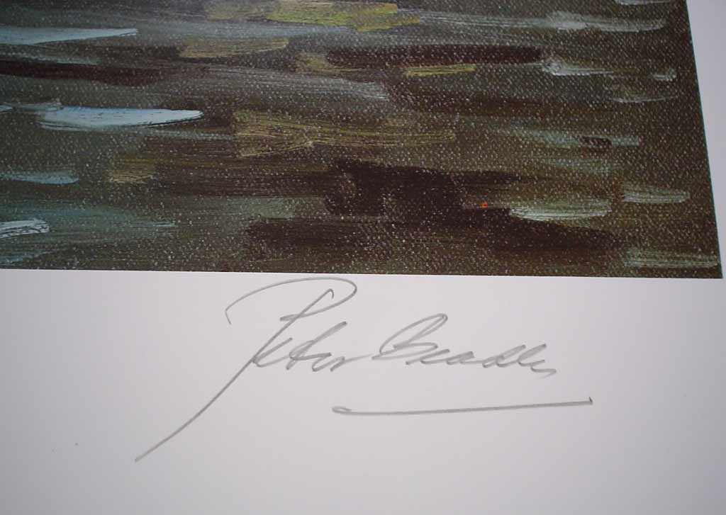 Fraser River by Peter Beadle, signed, titled and numbered 106/350 by artist, detail to show signature - offset lithograph limited edition vintage fine art print