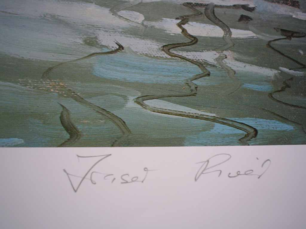 Fraser River by Peter Beadle, signed, titled and numbered 106/350 by artist, detail to show title - offset lithograph limited edition vintage fine art print