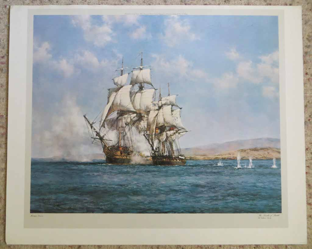 The Smoke Of Battle, The Gallant Speedy by Montague Dawson, shown with full margins - offset lithograph reproduction vintage fine art print