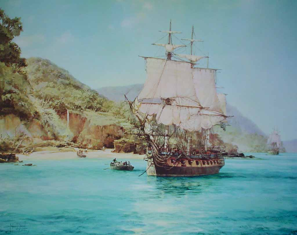 Pirate's Cove by Montague Dawson - offset lithograph reproduction vintage fine art print