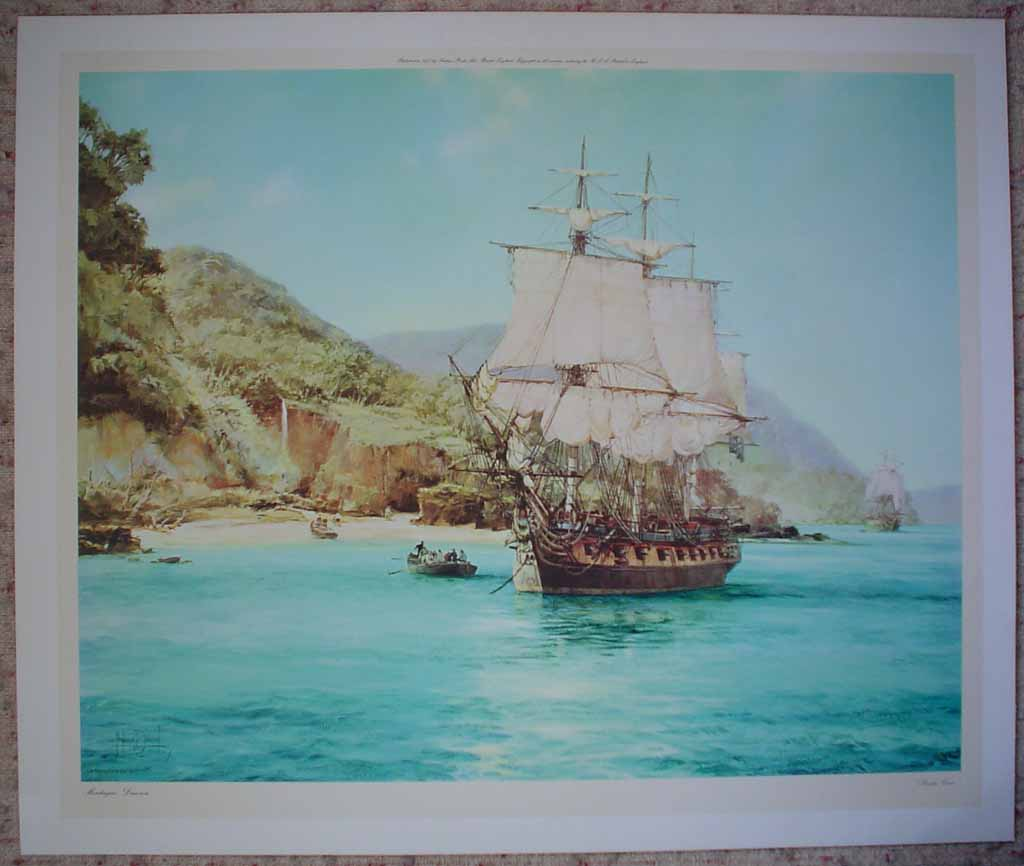 Pirate's Cove by Montague Dawson, shown with full margins - offset lithograph reproduction vintage fine art print