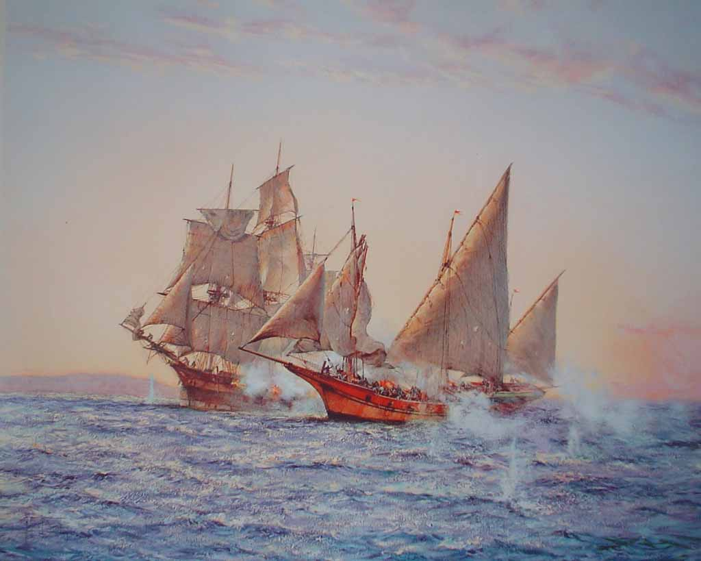 The Corsair by Montague Dawson - offset lithograph reproduction vintage fine art print